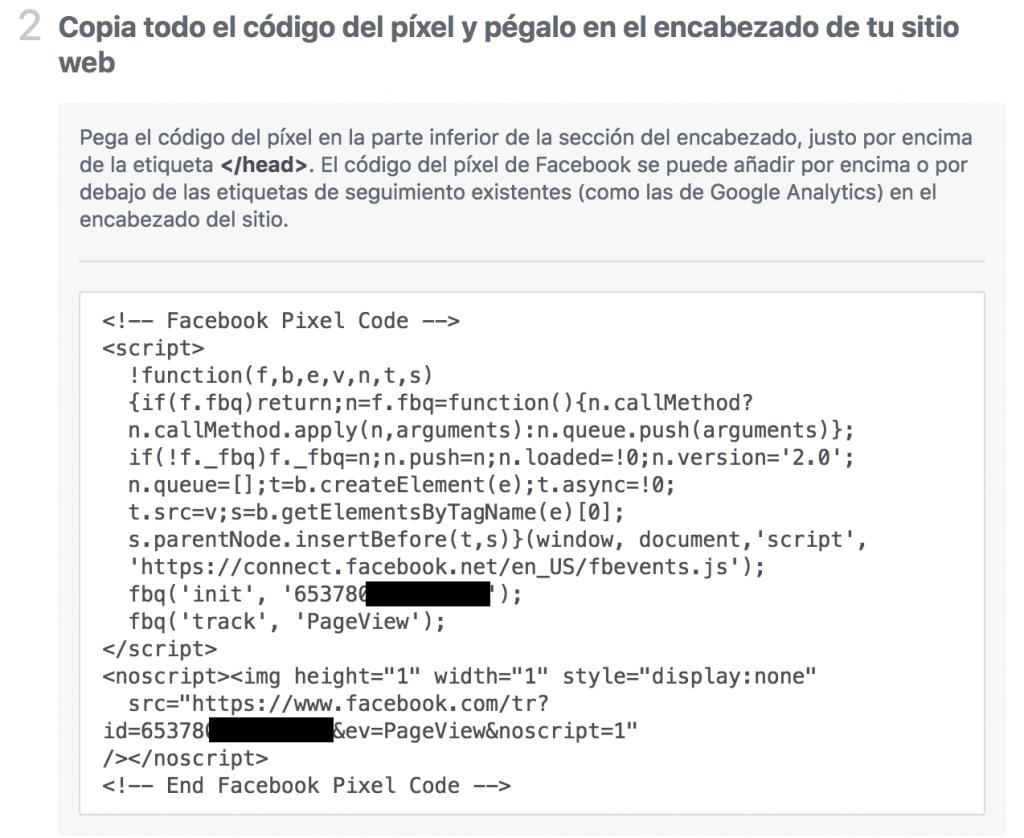 instalando Facebook Pixel código