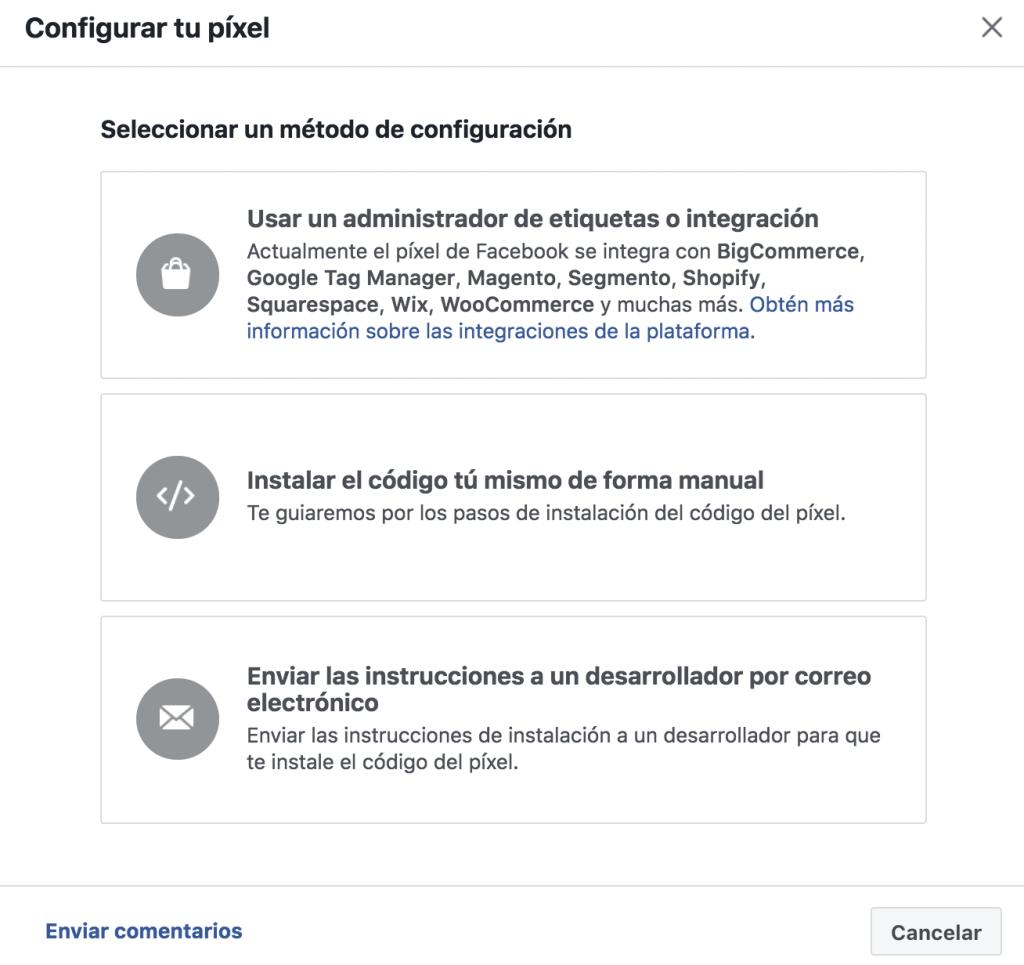 Opción de instalar el Facebook Pixel