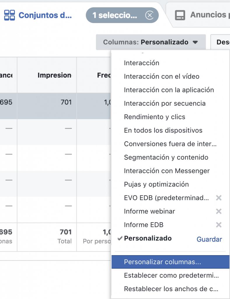 Personalizar informes de Facebook Ads