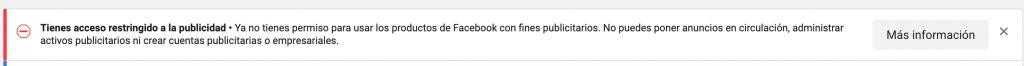 acceso restringido a la publicidad de facebook