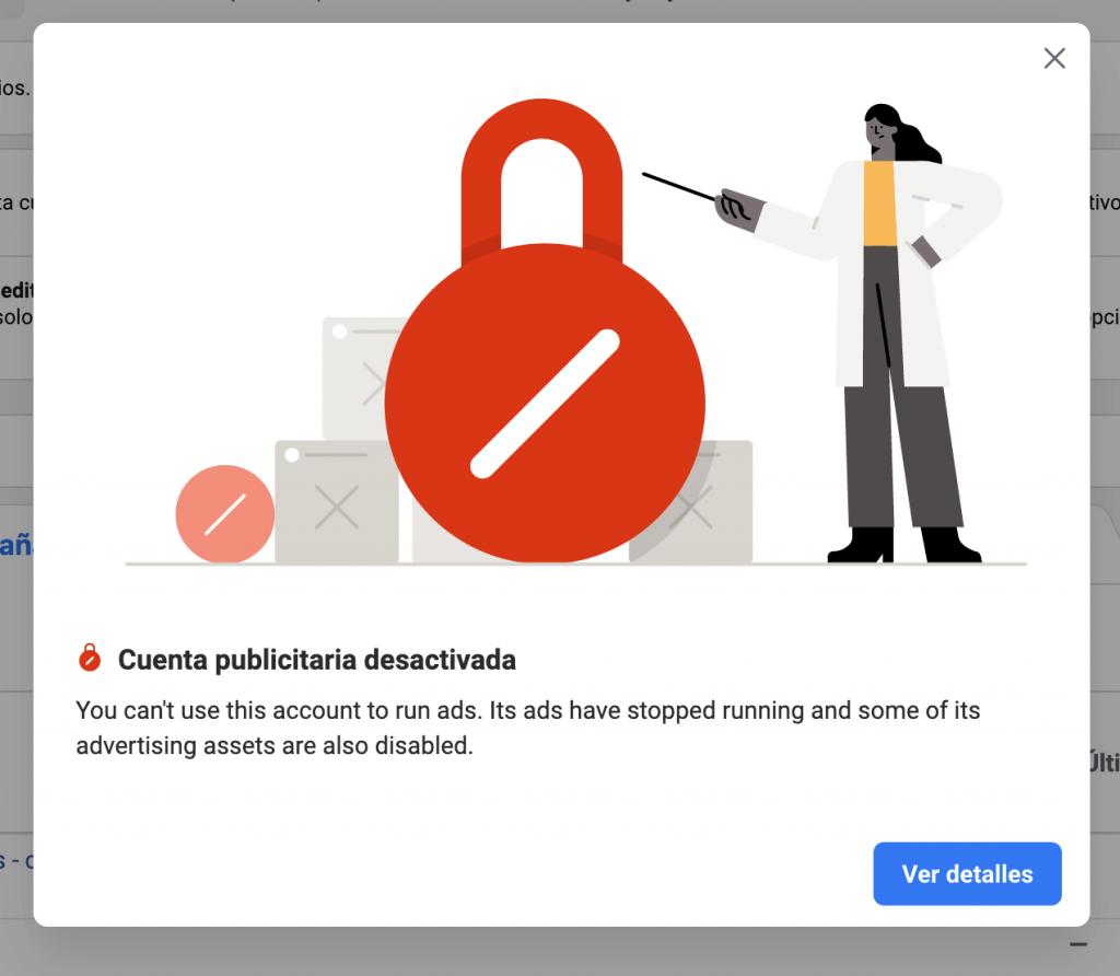 cuenta publicitaria de facebook desactivada