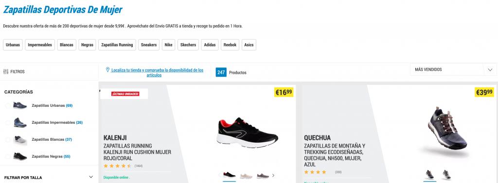 Optimización de categorias tienda online